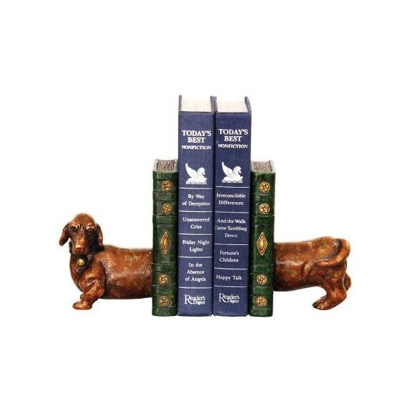 Sterling Industries 93 5784 Pair Peppy Bookends Dachshund Home Decor ($58)  ❤ Liked