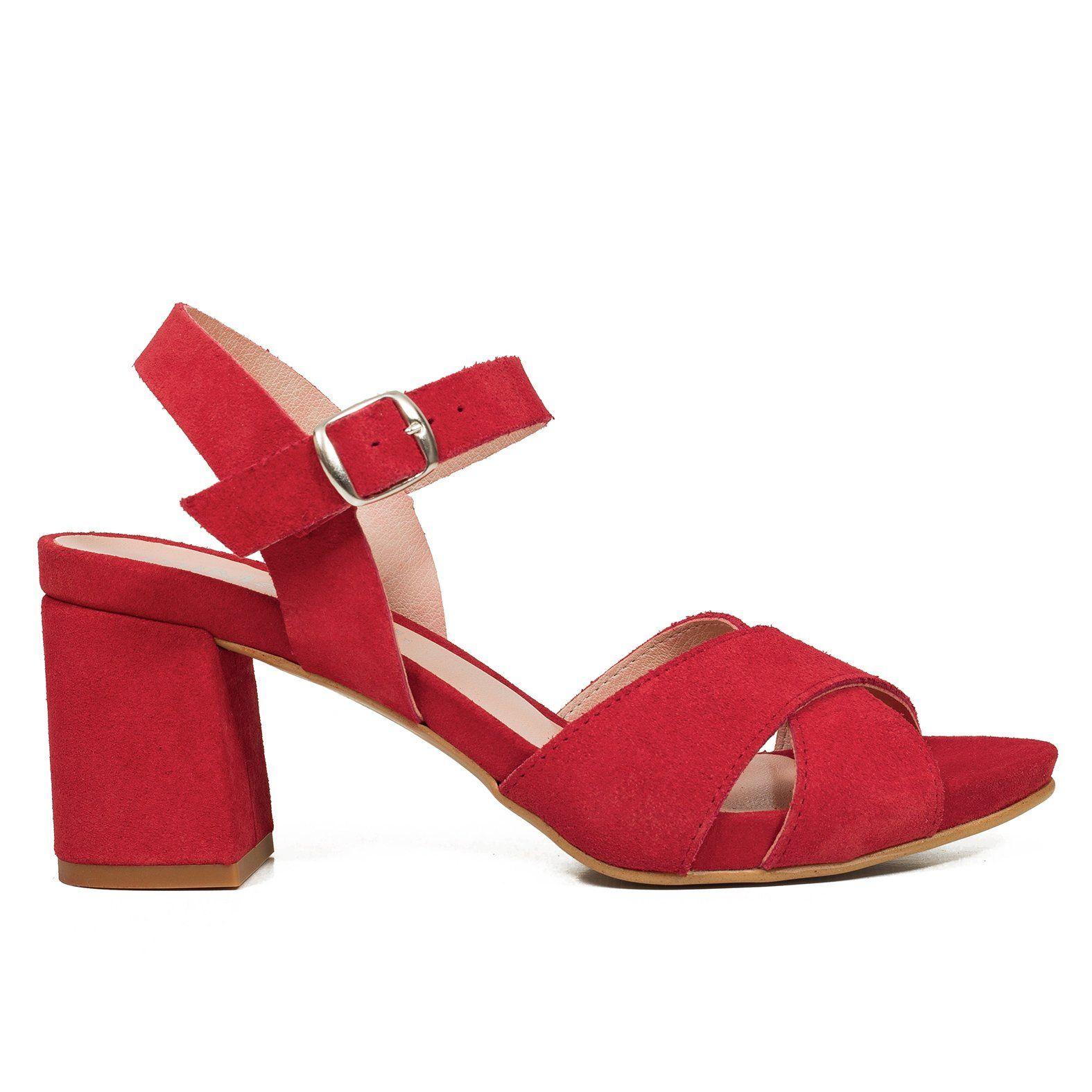 popular stores classic fit elegant shoes CASUAL Sandalias tacón ancho medio ROJO en 2019 | Sandalias ...
