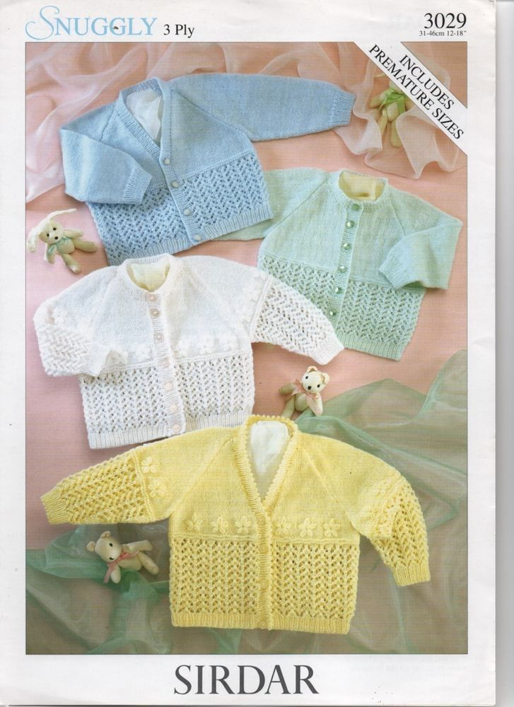 SIRDAR 3ply modern lacyknit baby cardigans knitting ...