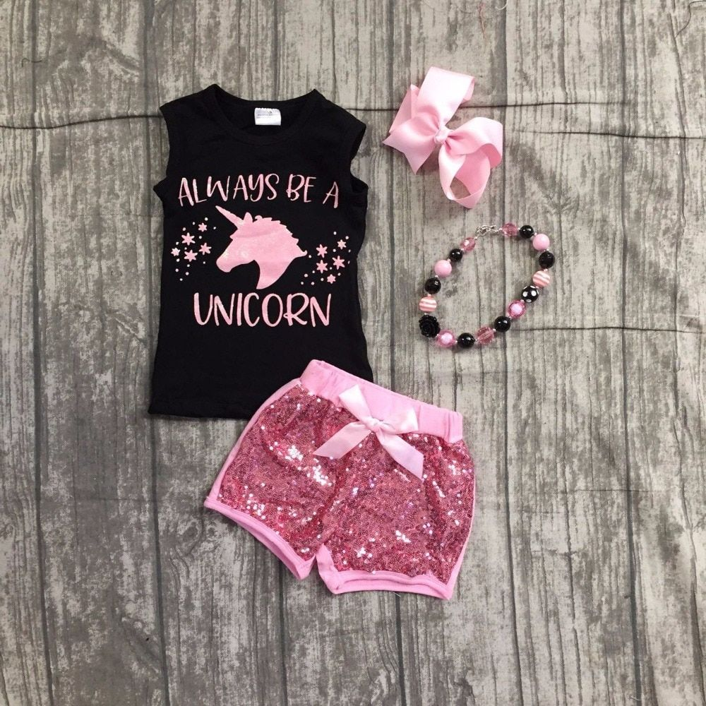 baby girls summer clothing girls always to a unicorn top with pink sequin  shorts outfits girls unicorn clothes with accessories b4f989a5e72f