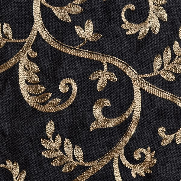 Macire Curtain Panel Available In Black Color With Gold