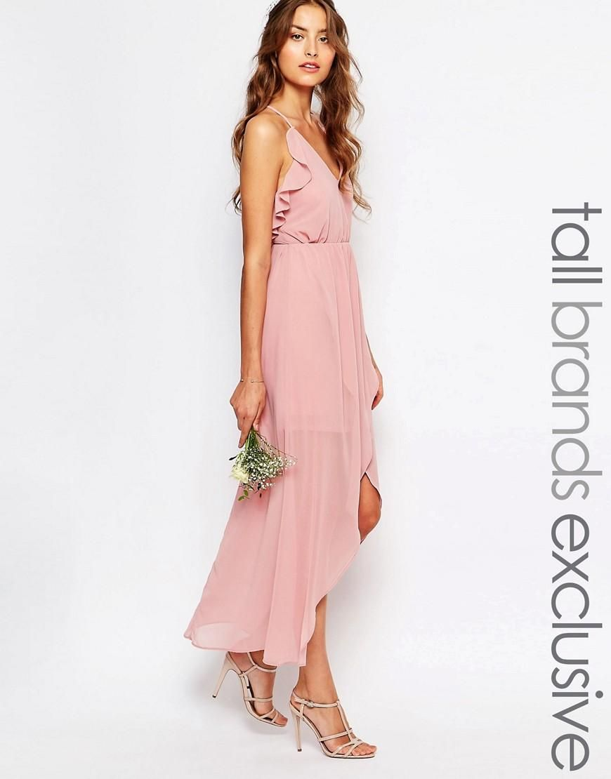 True Decadence Tall True Decadence Tall Wrap Cami Dress With Ruffles At Asos Maxi Dress Prom Wrap Cami Dress Pink Chiffon Dress
