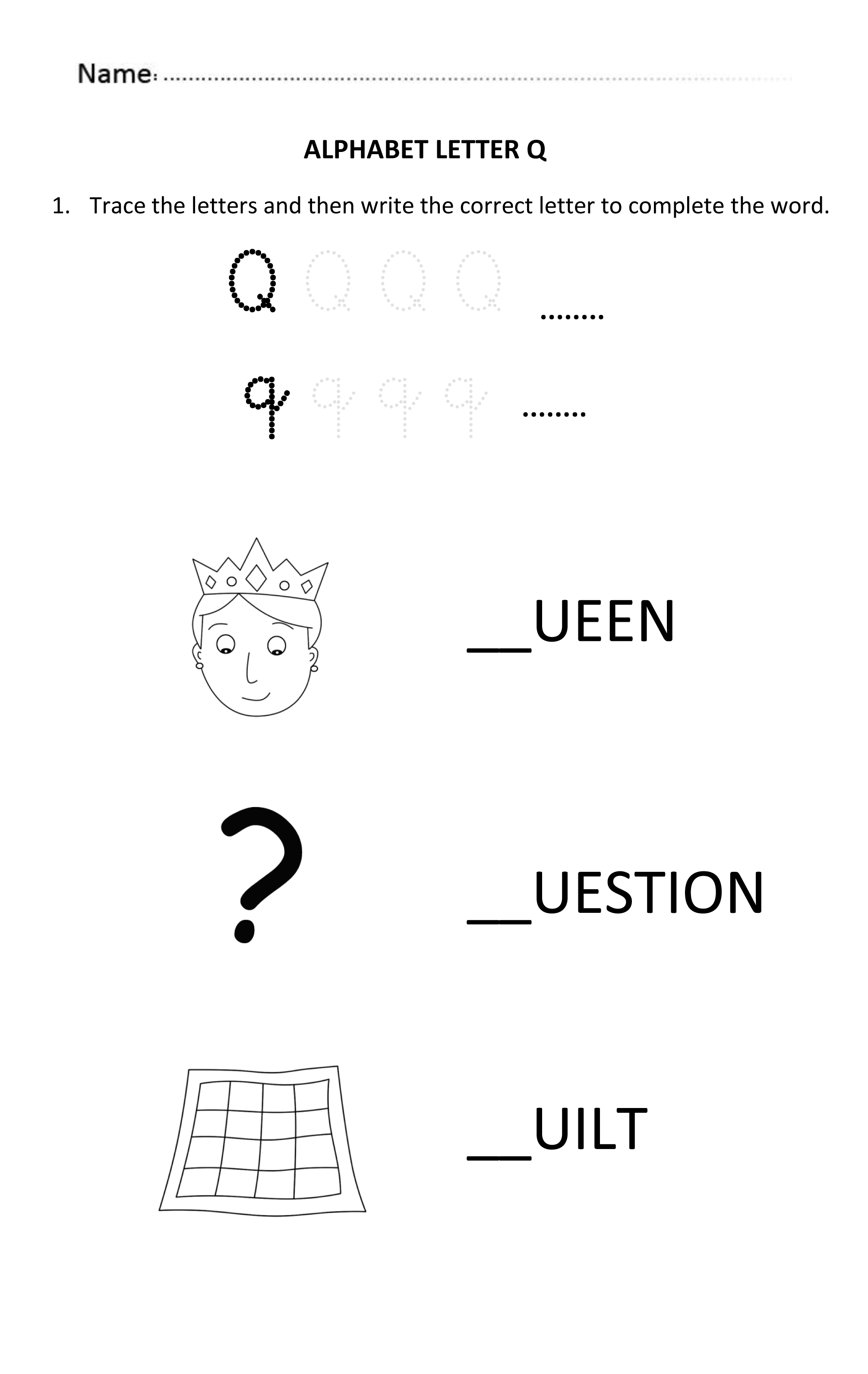 Learning And Writing Letter Q For 5 And 6 Years Old