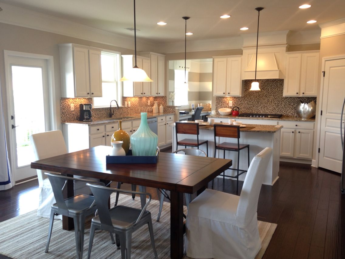 Open Kitchen Nice Colors Cool Dining Space From The Woodview Enclave Model Home Woodstock Ga Model Homes Home Open Kitchen