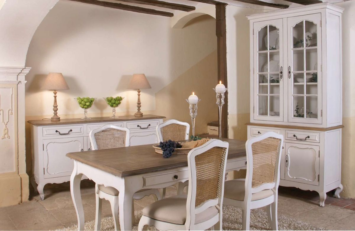Comedor provenzal luis xv white and beige decor - Sillas estilo provenzal ...