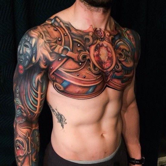 Chest Tattoos Page 2 Armor Tattoo Armour Tattoo Shoulder Armor Tattoo