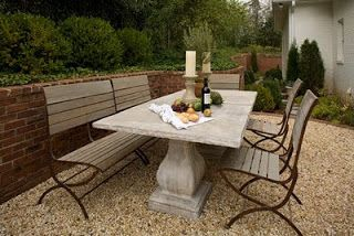 Charming Outdoor Dining Table....Elegant Earth Perfect Banquette Table In French Wax  Finish