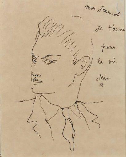 jean cocteau (1889 - 1963) «jean marais » dessin à la plume