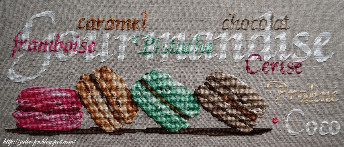 Isabelle Vautier, Gourmandise, Isabelle Vautier, Isa Vautier, design Isa, cross-stitch, makarons, macarons, French embroidery, French design