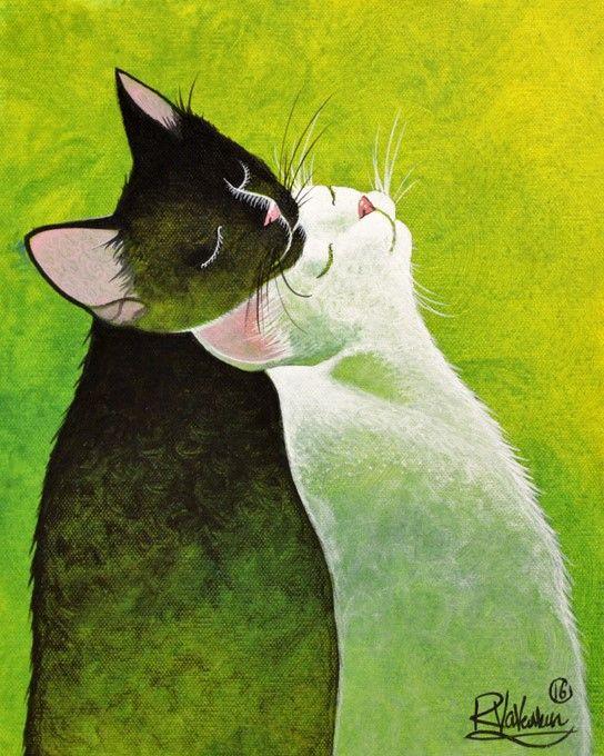 красивые рисунки котов и кошек пара думала