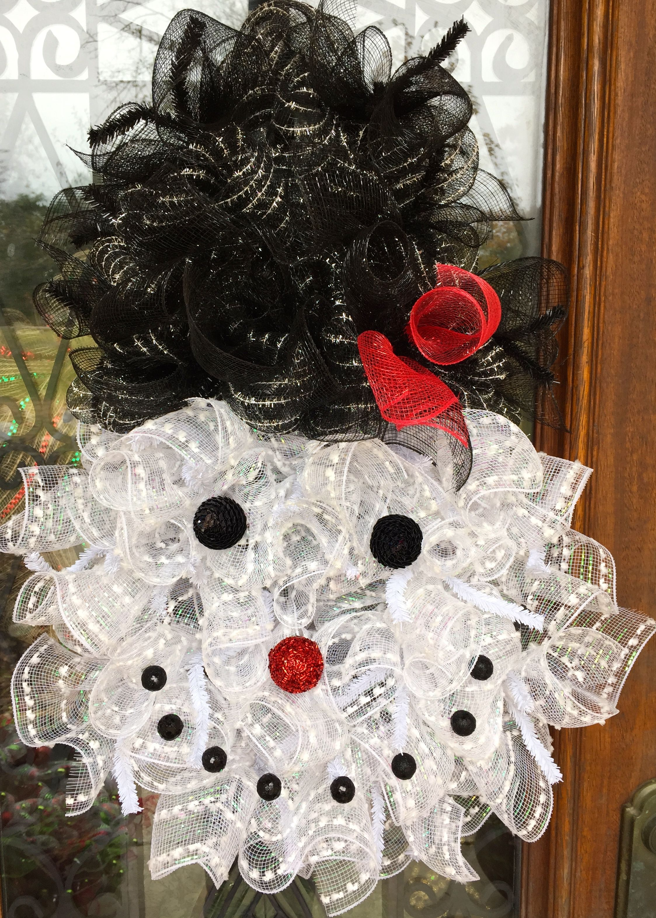 Happy snowman made with snowman wreath form www.facebook.com ...