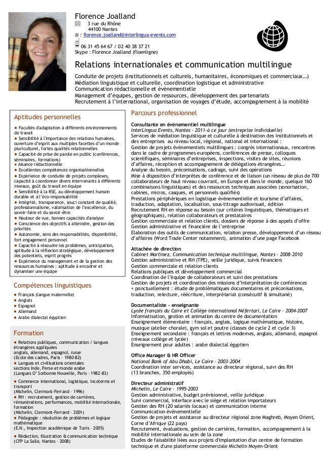 Cv Florence Joalland Conduite De Projet Cv Pour Stage Charge De Projet