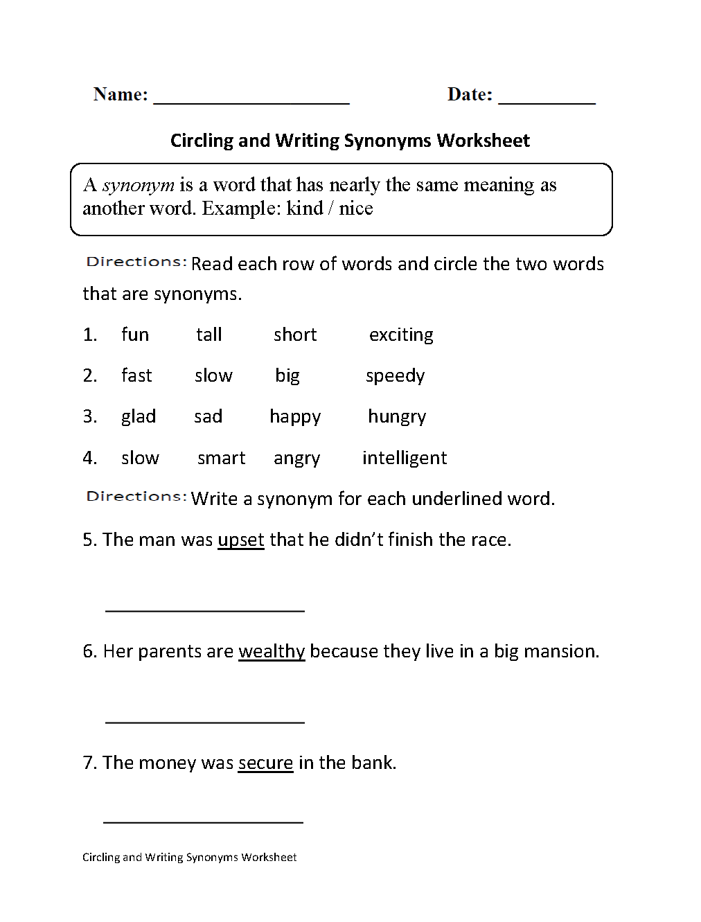 Circling And Writing Synonyms Worksheet Part 1 Beginner