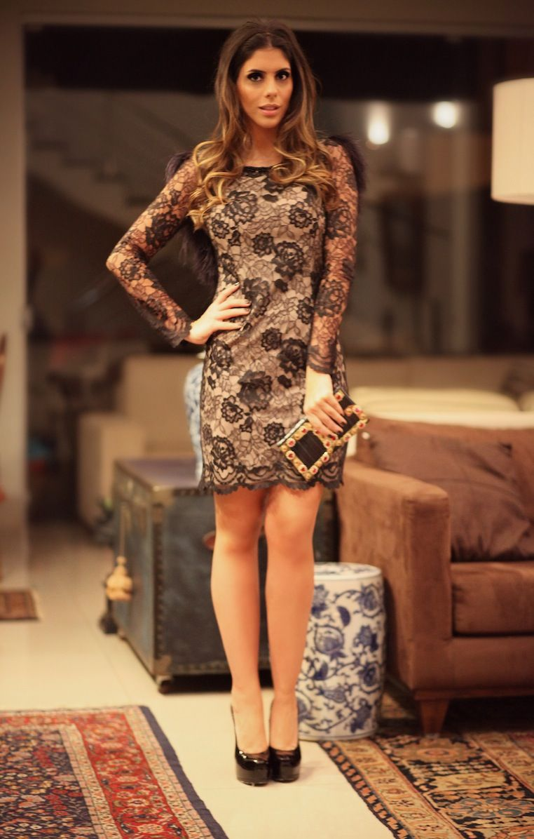 c8923032c vestido de renda preta com fundo nude Patricia Bonaldi | Vestidos ...