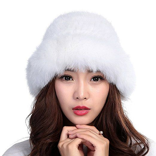 0a3e6a14 Valpeak Womens Winter Hat Knitted Mink Real Fur Hats with Fox Brim (White)