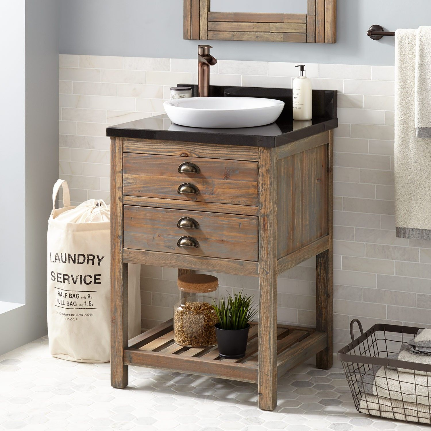 24 Benoist Reclaimed Wood Vanity For Semi Recessed Sink Gray