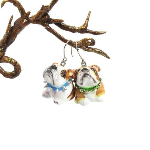 English Bulldog Lovely Dog Pet Lover Earrings, Mini ceramic/porcelain Bulldog hang from Rhodium Hoop Ear Wire  Chubby Bulldog with Red Collar embellish with crystal  If you are looking for other color