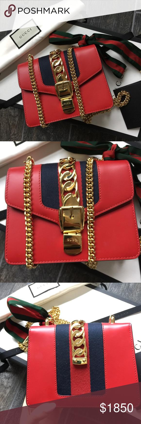 809843689321 Gucci Sylvie Leather Mini Chain Bag Authentic Gucci Sylvie Leather Mini  Chain Bag in hibiscus red