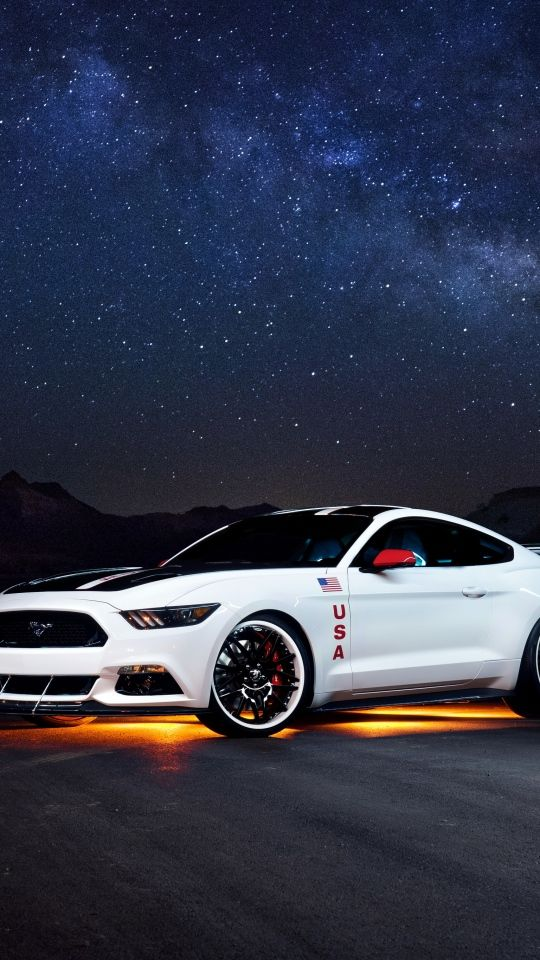 Download Wallpaper 540x960 Ford Mustang White Side View Night Car Iphone Wallpaper Mustang Wallpaper Car Backgrounds