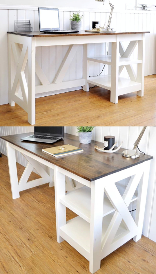 Farmhouse X Office Desk Home office design, Diy office