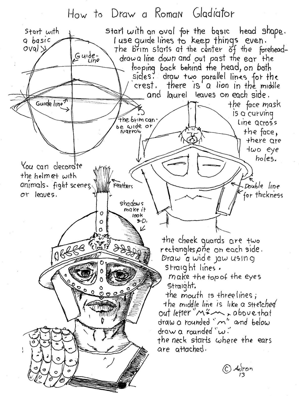 How To Draw Worksheets For The Young Artist How To Draw A Gladiator S Face With Helmet