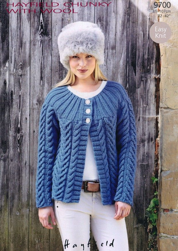 knit pattern for womens cardigan | ... Hayfield Chunky With Wool ...