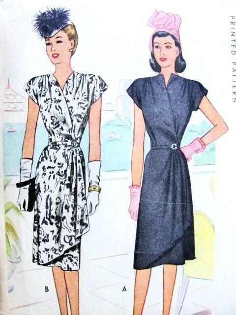 1940s Stunning Wrap Dress Pattern McCall 6440 Film Noir Cocktail ...