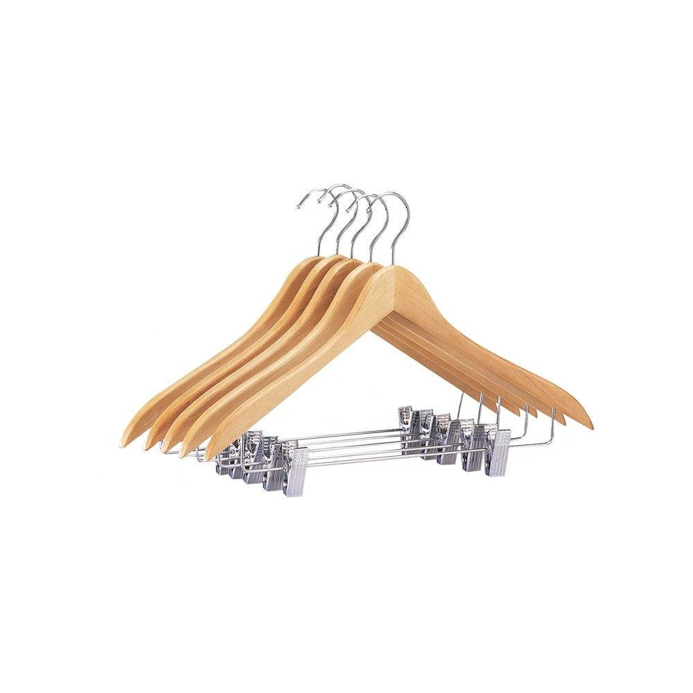 This set of 5 wooden hangers with clips by Neu Home is ideal for hanging suits slacks jackets and skirts Constructed of durable wood with a flattering natural bamboo shad...