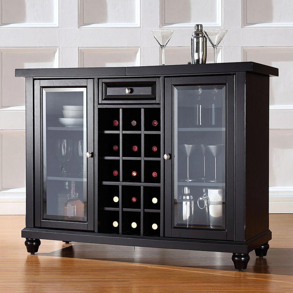 Crosley Furniture Cambridge Sliding Top Bar Cabinet, Black ...