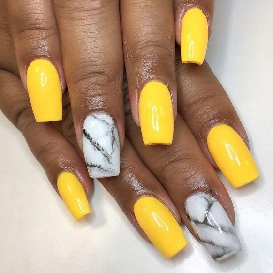 63 Stunning Marble Acrylic Nails Art Designs #squarenails – square nails #Acry… – Amazing Acrylic Nails