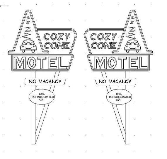 Cozy Cone Motel Sign Cars Movie Cars Theme Birthday Party Movie Crafts