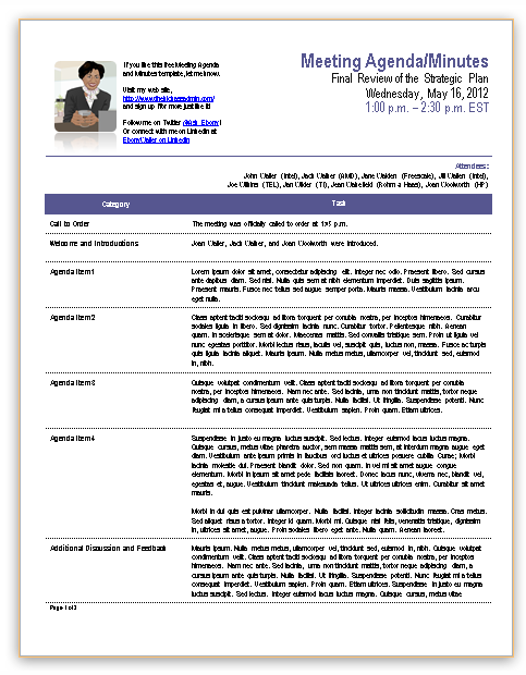 Template For Meeting Minutes  Free Template For Meeting Minutes Format