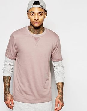 ASOS T-Shirt In Reverse Towelling With Roll Sleeve In Dusty Pink