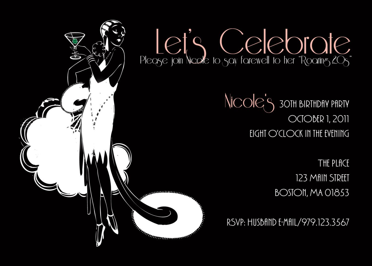 Roaring 20s flapper 30th birthday invitation 1500 via Etsy – 30th Birthday Party Invitation Wording Samples