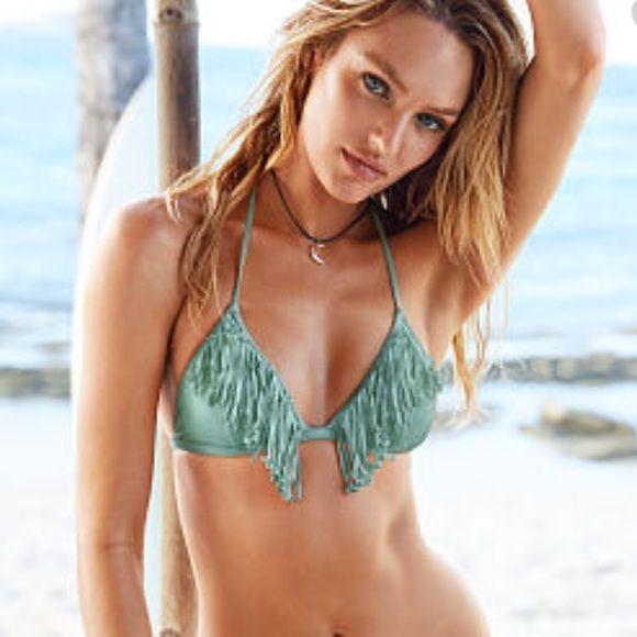 New Victoria's Secret Fringe Triangle Bikini Top M Size medium Victoria's Secret Swim Bikinis