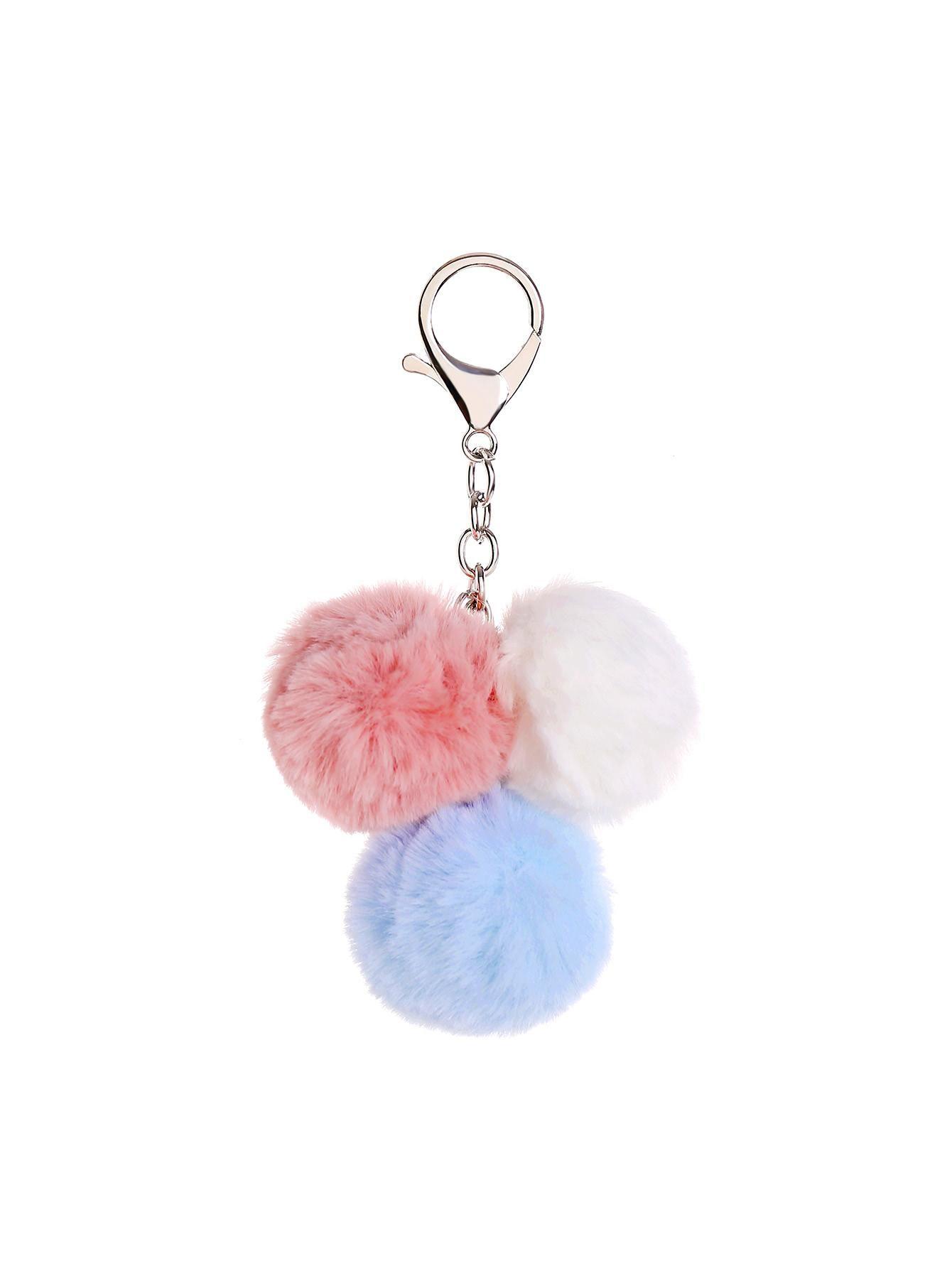 6d2fb67430 SheIn - SheIn Faux Fur Keychain With Three Pom Pom - AdoreWe.com ...