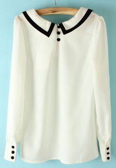 White Lapel Long Sleeve Back Buttons Blouse - Sheinside.com #SheInside