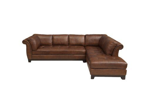 Elements Fine Corsario Top Grain Leather Sectional Bourbon 120 By 82 5 By 33 Inch Sectional Sofa Couch Top Grain Leather Sectional Leather Sectional Sofa