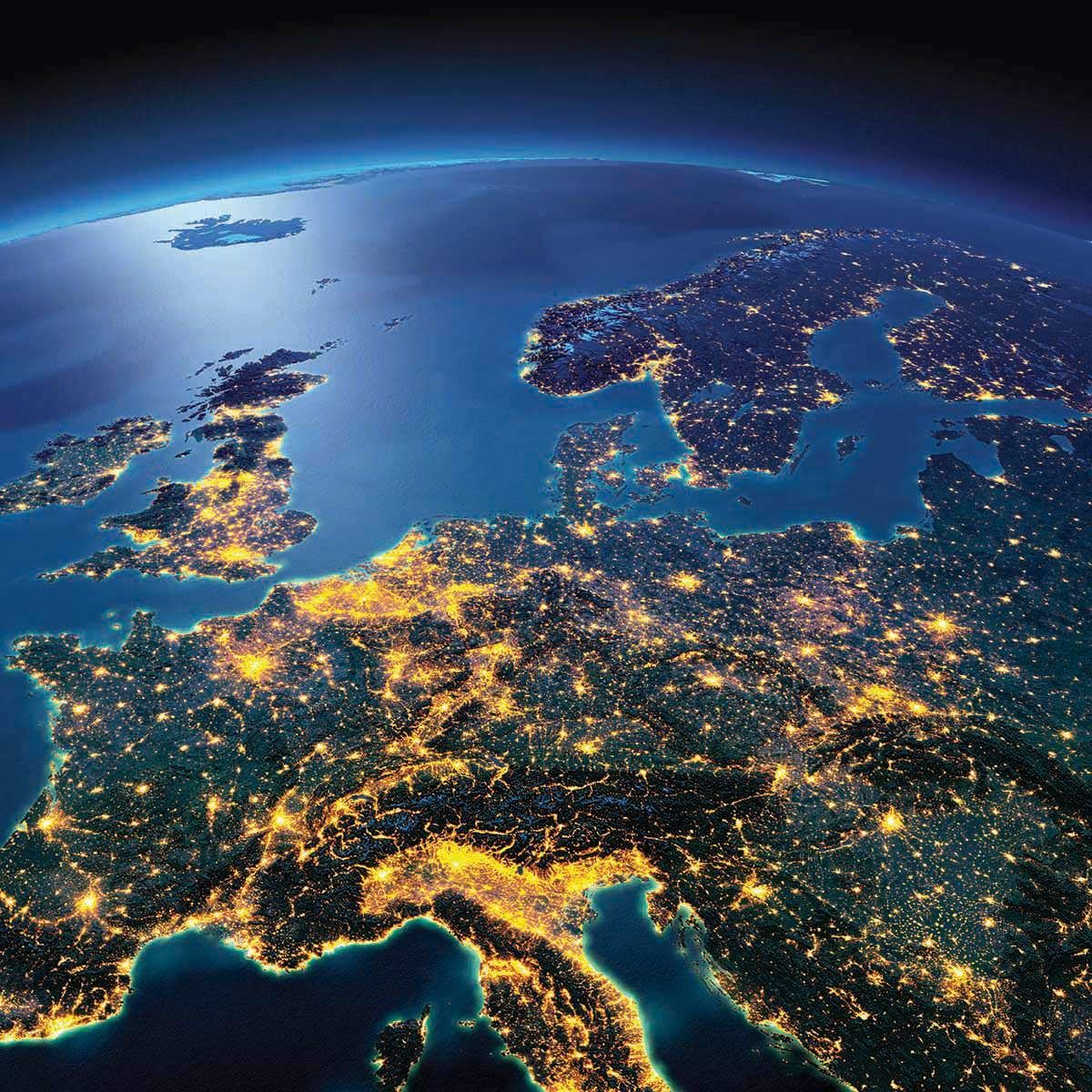 Night Lights Of Central Europe Mapmania