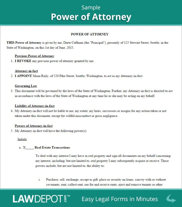Sample Power of Attorney Power of attorney form, Power