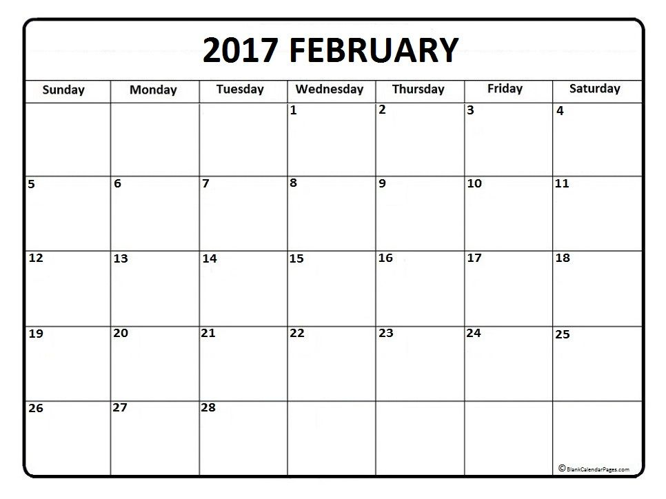 February calendar 2017 printable and free blank calendar - blank calendar template