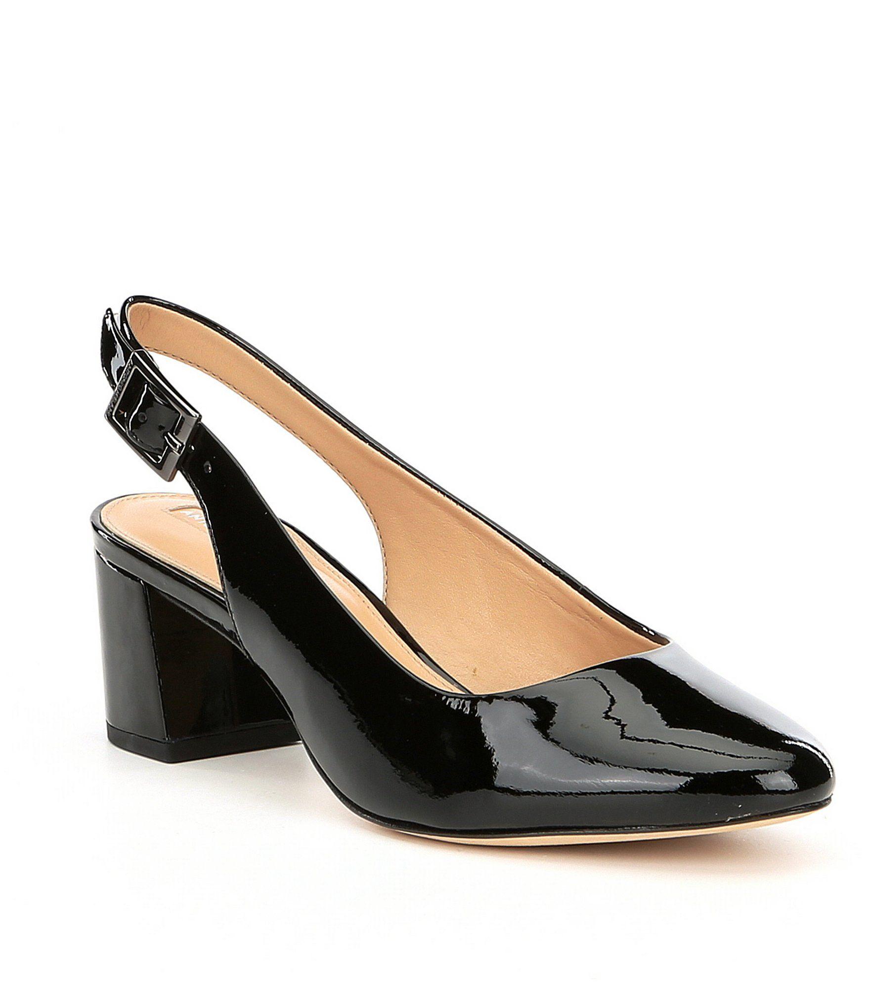 Antonio Melani Arian Patent Leather Slingback Block Heel Pumps YCrik