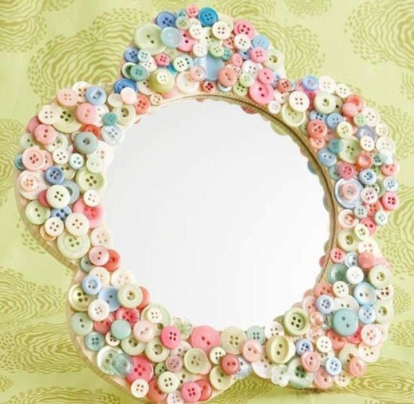 diy mirror decoration ideas button crafts mirror frame - Decorate Mirror Frame