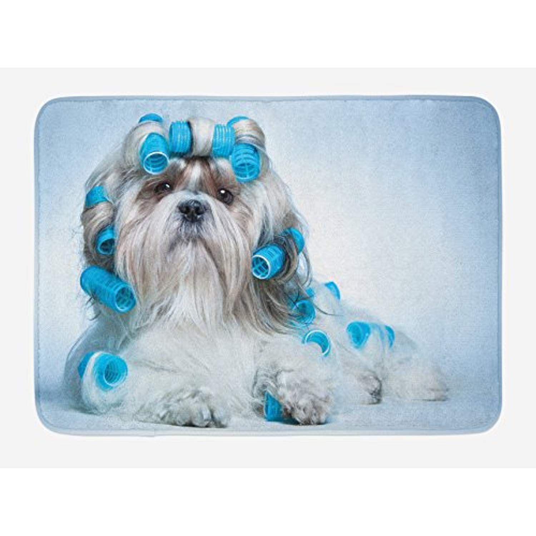 Lunarable dog lover bath mat shih tzu dog grooming