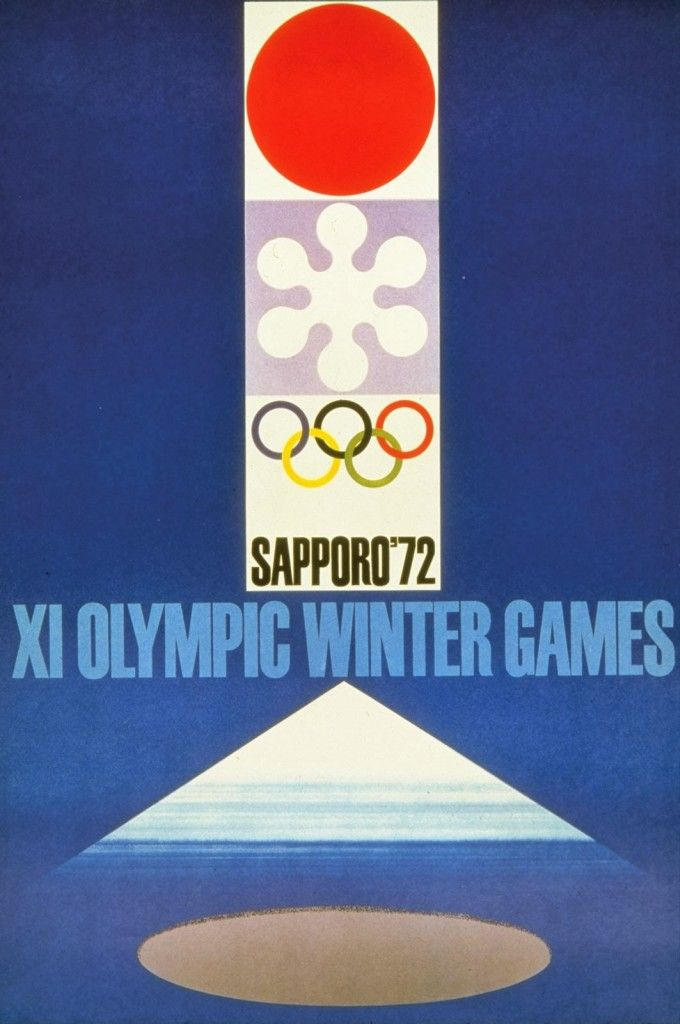 An official poster from the 1972 Winter Olympics held in Sapporo, Japan. Description from kids.britannica.com. I searched for this on bing.com/images