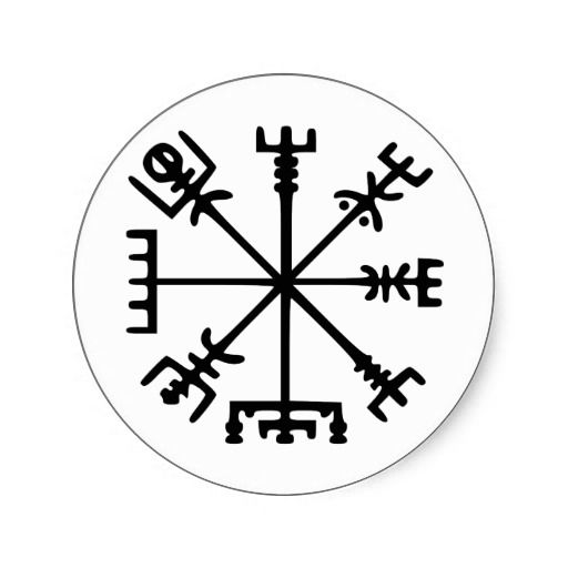vegv u00edsir  viking compass  classic round sticker