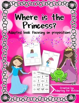 This 10 page adapted book focuses on spatial concepts. Students choose the correct preposition based on the picture:The princess is ____ the frog. *next toThe princess is ____ the horse. *in front ofI recently updated the file (4/1/15) to include worksheets to add a writing component to the book.