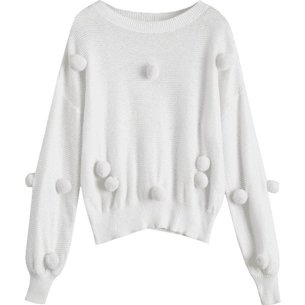 Loose Balls Patched Sweater White S (€22) ❤ liked on Polyvore ...