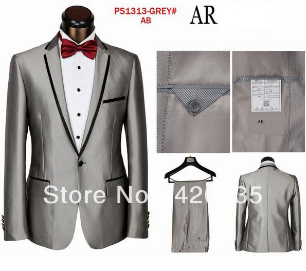 2013 grey high quality groom wedding wear one button mens prom suits ...