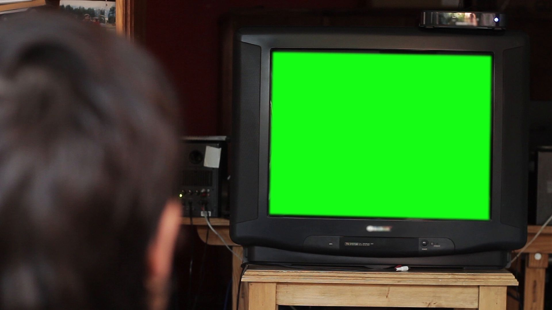 Man Watches Tv With Green Screen Living Room Zoom In Stock Footage Ad Green Screen Tv Man Greenscreen Watches For Men Chroma Key
